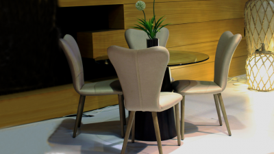 Fedora Side Chair & Gong Dining Table